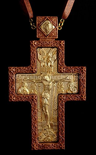 Golden plated Russian Orthodox Priest Pectoral cross award for Bishop Abbot Crucifix Christian Gifts # 7 by Workshop Archangel