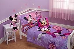 Disney 4 Piece Minnie\'s Fluttery Friends Toddler Bedding Set, Lavender