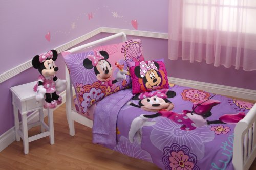 Crib Bedding Bed Set - Disney 4 Piece Minnie's Fluttery Friends Toddler Bedding Set, Lavender