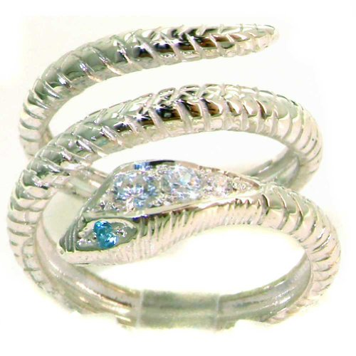 Solid 925 Sterling Silver Blue Topaz & Cubic Zirconia CZ Snake Band Wrap Ring - Size 6.75