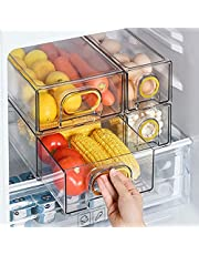 GangZhENgSd Set Of 6 Refrigerator Organizer Bins Plastic Fridge Water Bottle Storage Dispenser, Soda Can and Drink Holder for Pantry Kitchen Cabinets and Freezer, BPA Free, Gold- L