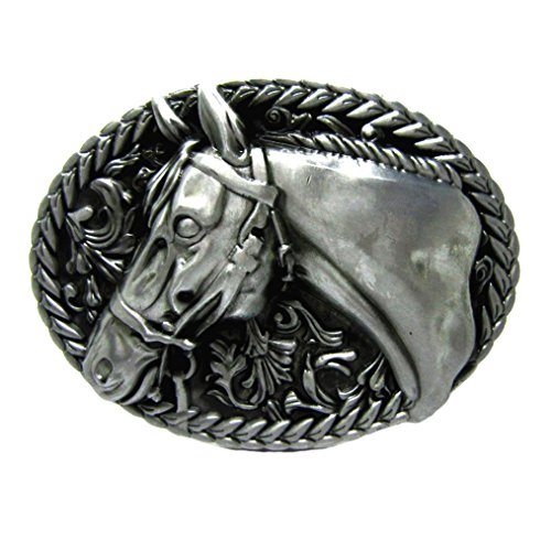 MASOP Vintage Rodeo Oval Arabian Horse Head Silver Belt Buckle Western ()
