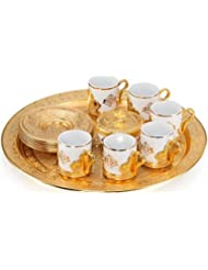 21 Pieces Unique Stunning Espresso Turkish Greek Coffee Serving Set - Porcelain Cups with Tray and Sugar Bowl - Vintage Design Ottoman Arabic Gift Set, Gold
