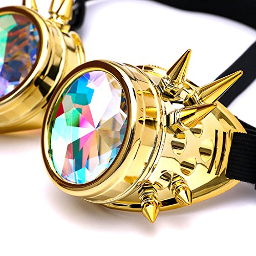 Amazon, Kaleidoscope Rave Rainbow Crystal Lenses Steampunk Goggles Spike Halloween (One Size-Adjustable head band, Golden) by DODOING (Image #4)