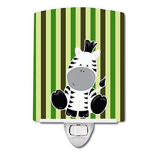 Caroline's Treasures Zebra Ceramic Night Light, Stripes, Green, 6