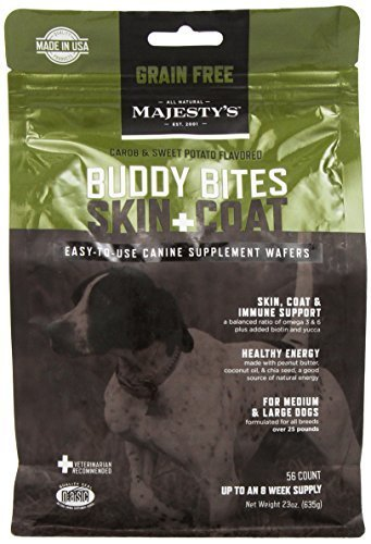 Majesty's Buddy Bites Skin & Coat Grain Free supplement for Medium Large Dogs 56 count bag by MAJESTY'S