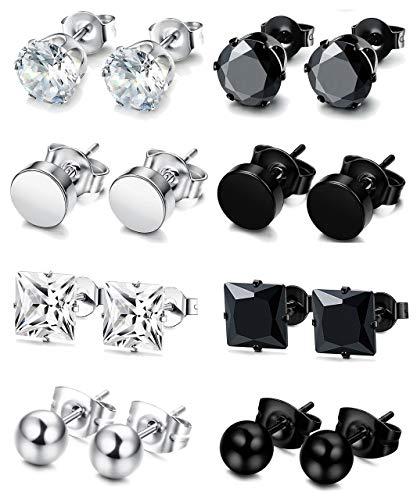 less Steel Stud Earrings for Men Women Piercing Earrings,5MM ()