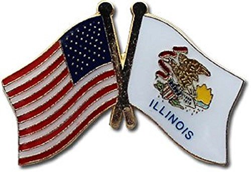 - ALBATROS Pack of 3 USA American Illinois State Flag Lapel Pin for Bike Hat and Cap for Home and Parades, Official Party, All Weather Indoors Outdoors