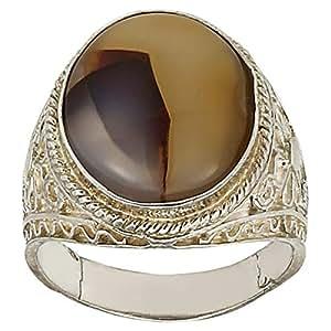 RNB Unisex Silver 925 Aqeeq Ring - 8