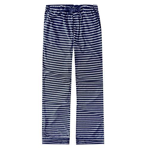 Noble Mount Twin Boat Women's Soft Knit Jersey Lounge Pants - Navy-White - M