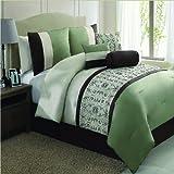 RT Designers Collection Del Rio 7-Piece Comforter Set, King, Sage