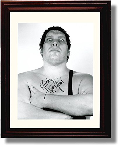 amazon com framed andre the giant autograph replica print