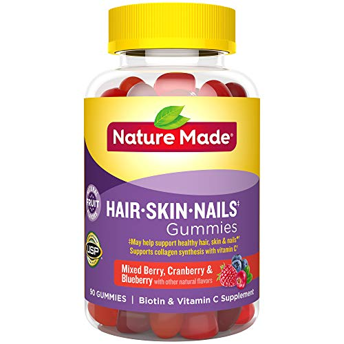 Nature Made Hair, Skin & Nails 2500 mcg Biotin Gummies w. Vitamin C, 90 Count (Packaging May Vary)