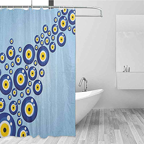 SONGDAYONE Multi-Pattern Shower Curtain Evil Eye Diagonal Evil Eye Pattern Lively Protection Symbol Turkish Cultural Easy to Care Blue Pale Blue Yellow W48 xL72