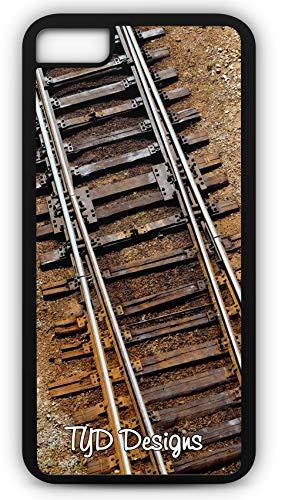 iPhone 8 Plus 8+ Case Boxcar Caboose Railroad Train Tracks Customizable TYD Designs in Black Rubber