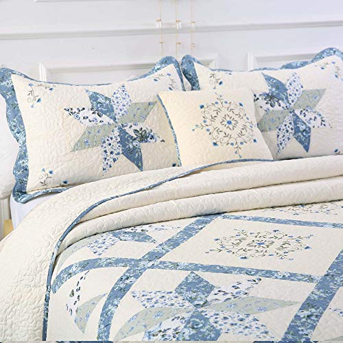 Kasentex Luxurious Patchwork Bedspread Embroidery Coverlet 100% Cotton Quilt Machine Washable Oversize Queen(Blue, 102x118in)