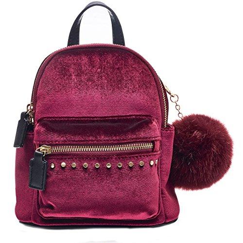 Handbag Mini Ultra Soft Wine Velvet w Control Pom Shoulder Pom Backpack Dream qpZUCU