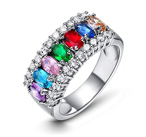 Multi-color Gemstone Zircon Cz White Gold Filled Women's Wedding Ring Gifts Bridal Jewelry (7) (Gold Multi Color Gemstone Ring)