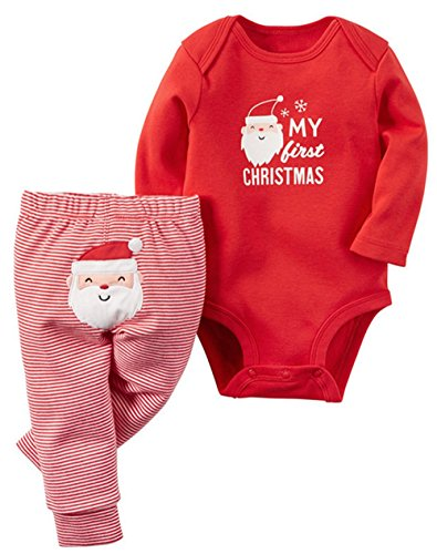 BANGELY Baby Boys Girls Christmas Deer Print Long Sleeve Romper Tops Striped Pants Set size 6-12Months/80 (Red-2)