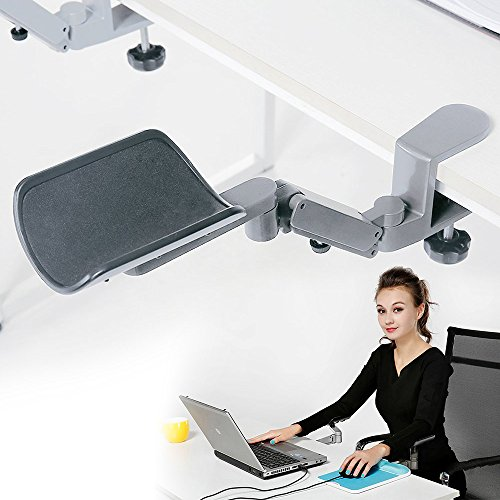 Wrist Rest - Tuned Both Horizontal and Vertical Direction - Upgrade eLink Pro Ergonomic Arm Support - Fashionable Aluminium Alloy Computer Armrest_Silver - Upgrade Computer