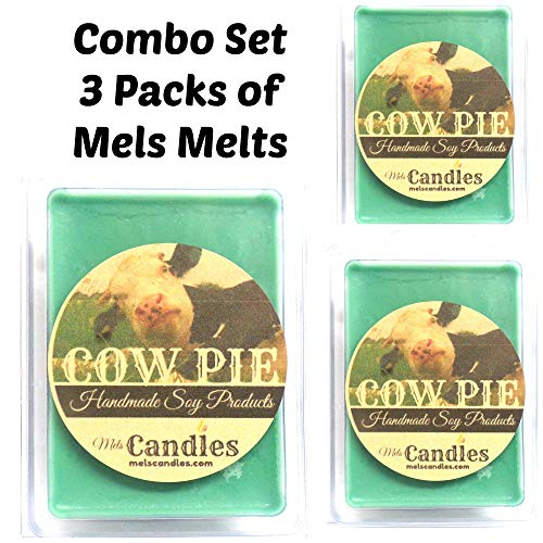 Mels Candles Combo 3 Packs of Cow Pie - 3.2 oz Per Pack of Soy Wax Tarts - (6 Cubes Per Pack) Smells Like Fresh Cut Grass