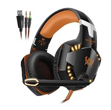 Wj Auriculares con micrófono para Juegos G2000, Auriculares inalámbricos Plegables, Auriculares estéreo con micrófono