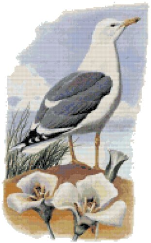 Utah State Bird (California Gull) and Flower (Sego Lily) Counted Cross Stitch Pattern