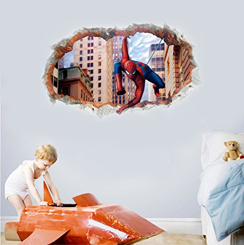 "The Spiderman arrives from the broken wall - 3D Wall graphics sticker/poster for Wall decor Bedroom / Living Room / Kids Room (72"" x 45"" inches)"
