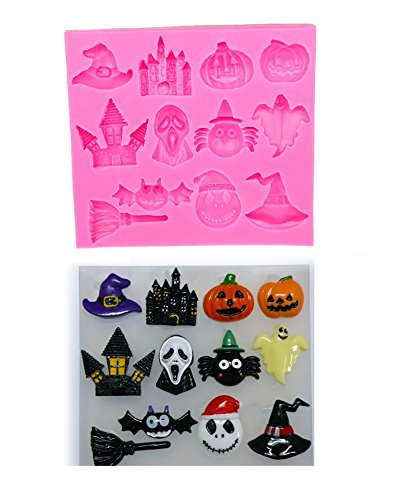 Joinor Halloween Pumpkin Witch Hat Castle Bat broom Silicone Mold Fondant DIY Cake Decorating Mold, Cupcake Topper, Jelly, Chocolate, Candy, Polymer Clay Moulds