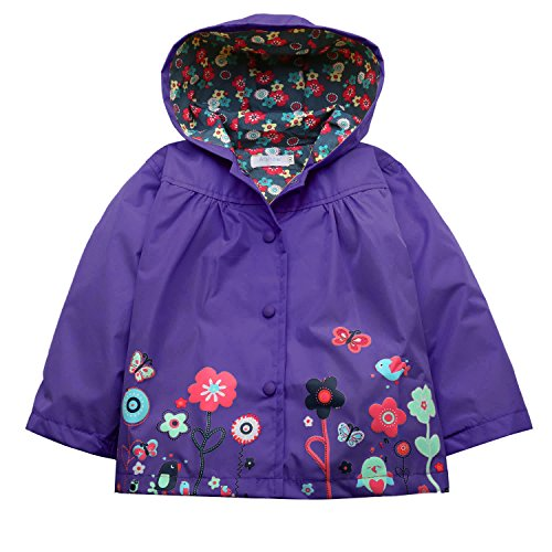 Arshiner Girl Baby Kid Waterproof Hooded Coat Jacket Outwear Raincoat Hoodies (100(Age for 2-3Y), Dark Violet)