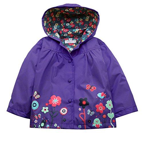 Arshiner Girl Baby Kid Waterproof Hooded Coat Jacket Outwear Raincoat Hoodies (120(Age for 4-5Y), Dark Violet),Dark Violet,120(Age for 4-5Y)
