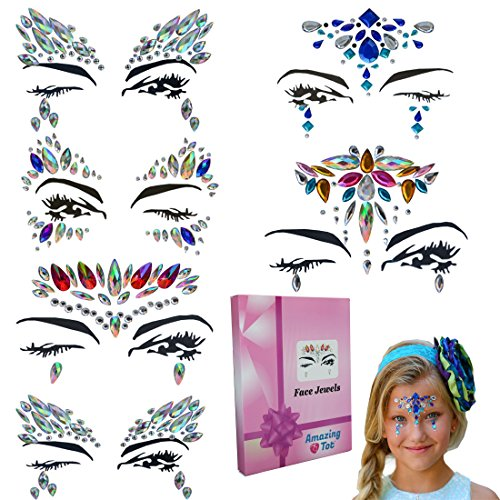 Face Jewels Face Gems Face Stickers -Mermaid Face Jewels Tattoos Festival Face Rhinestones, Festival Accessories for Concerts Eyes Body Forehead Decorations Rave Parties, Crystal Bindis for -