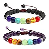 Description:7 Chakra bracelets set: This set includes 2 pieces of 7 chakra bracelets in 2 different styles; Adjustable sizes fit most men and women.  Specifications: Material: stone, alloy, elastic, thread  Color: multicolor Bead diameter: 8 mm ....