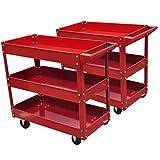 vidaXL 2X Rolling 3 Tray Utility Cart Dolly 220lbs Storage Shelves Workshop Garage Tool