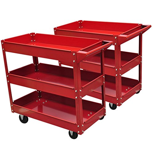 vidaXL 2X Rolling 3 Tray Utility Cart Dolly 220lbs Storage Shelves Workshop Garage Tool by vidaXL (Image #1)