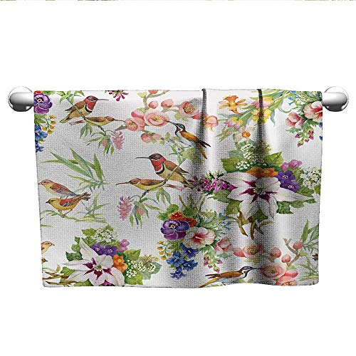 alisoso Floral,Personalized Towels Watercolor Wild Exotic Mockingbirds and Spring Flowers Branches Botanical Artwork Sports Ttowel Multicolor W 14