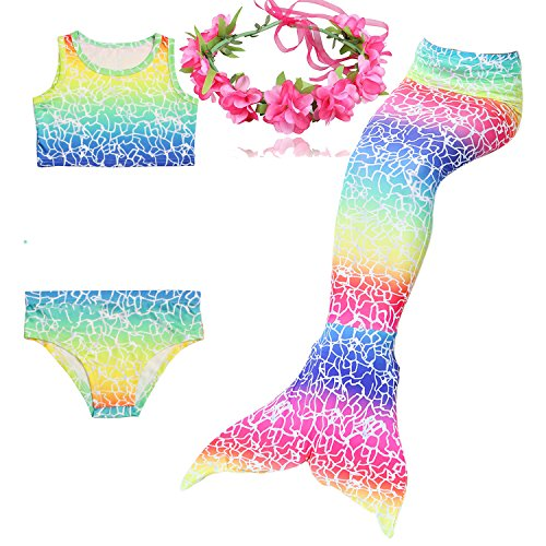 GALLDEALS 4pcs Swimmable Mermaid Tail for Kids Girls Princess Bikini Set Swimsuit Swimwear, 3-12Years