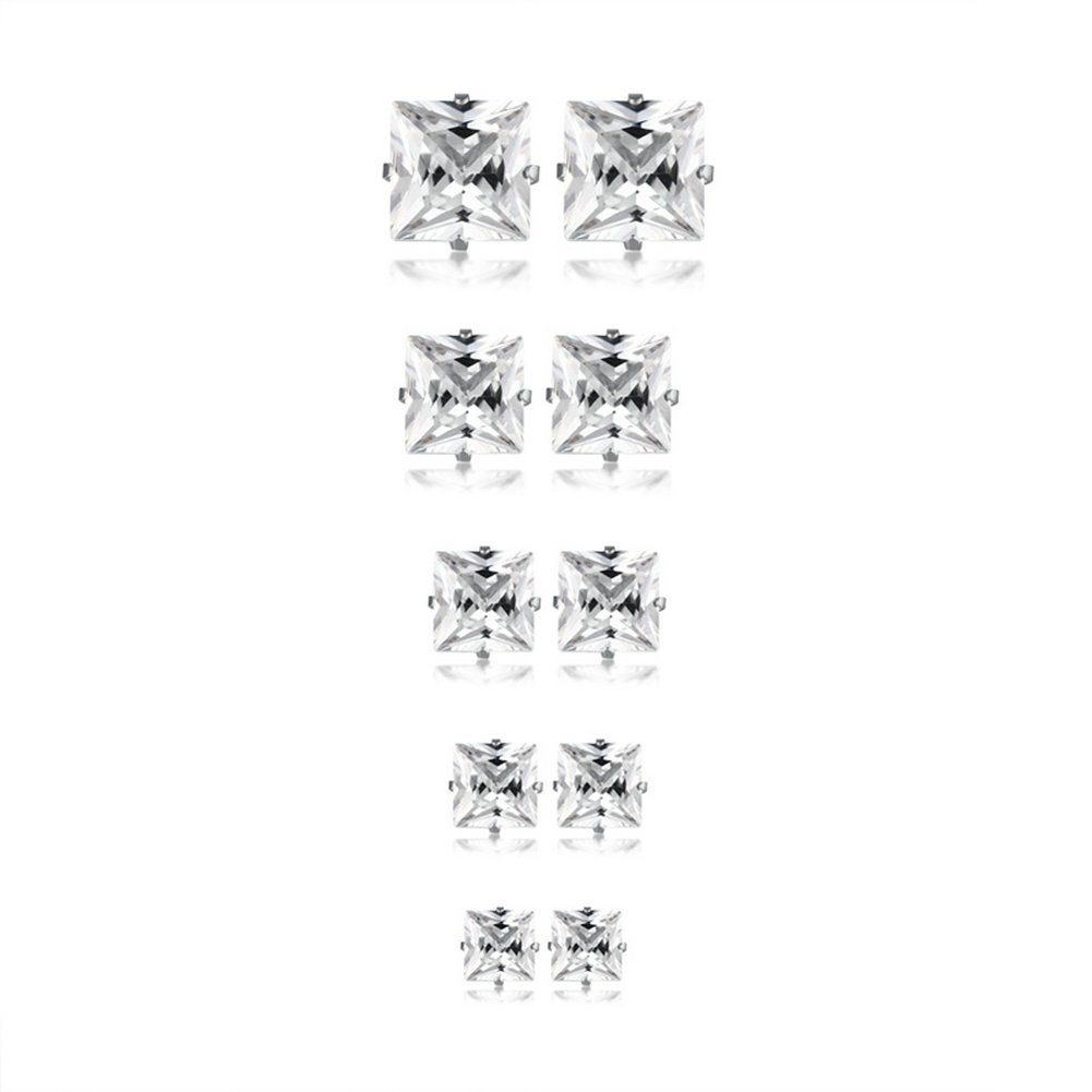Herinos Titanium Stud Earrings Set Cubic Zirconia 5 Pairs Stainless Steel Earrings Round Square for Women Girls