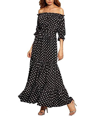 R.Vivimos Women Summer Off Shoulder Polka Dot Long Dresses Medium