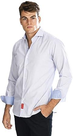 Camisa Manga Larga de Vestir, semientallada con Rayas Finas en Azul Celeste para Hombre: Amazon.es: Ropa y accesorios