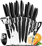Home Hero Stainless Steel Knife Set with Block - 13 Kitchen Knives Set Chef Knife Set with Knife Sharpener, 6 Steak Knives, Bonus Peeler Scissors Cheese Pizza Knife and Acrylic Stand Best Cutlery Set