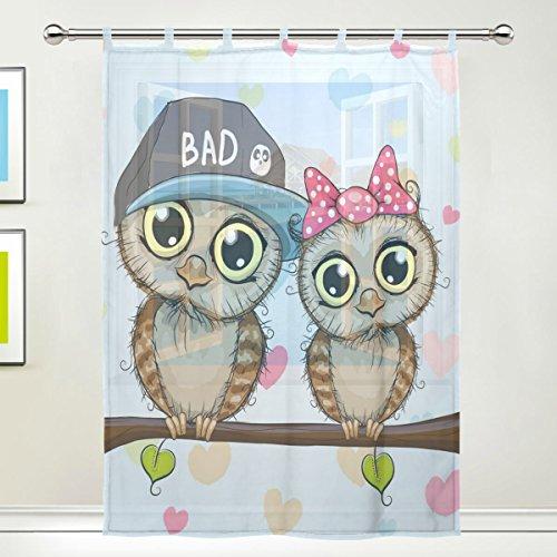1 Piece Tulle Voile Window Room Decoration Sheer Curtain,Cartoon Animal Romantic Owl Couple In Love,Single panel Gauze Curtain Drape Panel Valance 55 x 78 inch