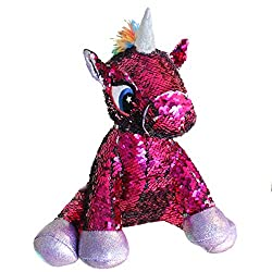 Sequin Stuffed Unicorn Toy with Reversible Purple Sequins