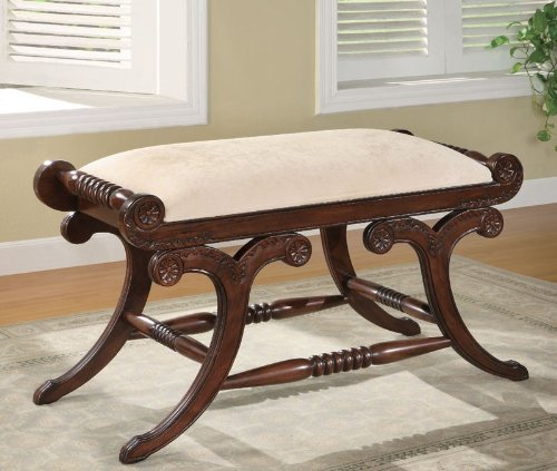 Coaster Home Furnishings Accent Bench with Ivory Fabric Upholstered Seat in Warm Brown -
