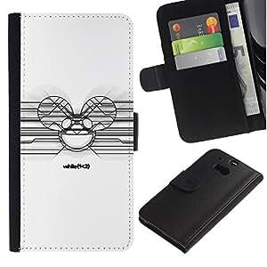 """A-type (Deadmaus Blanca"""") Colorida Impresión Funda Cuero Monedero Caja Bolsa Cubierta Caja Piel Card Slots Para HTC One M8"""