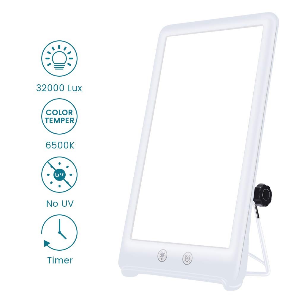 Happy Sun Lamp,GLIME Sad Light Therapy Lamp with Timer and Simulates Sunlight UV-Free 32000 Lux Brightness, 3 Adjustable Brightness Touch Control Happy Light for Depression,Home,Office,Bedroom Use