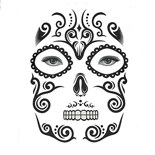Weite Horror Facial Skull Temporary Tattoos, Makeup Stickers Masquerade Day of The Dead Skull Stickers Halloween Terror Scar Wound Tattoo Kit for Women Men (E)