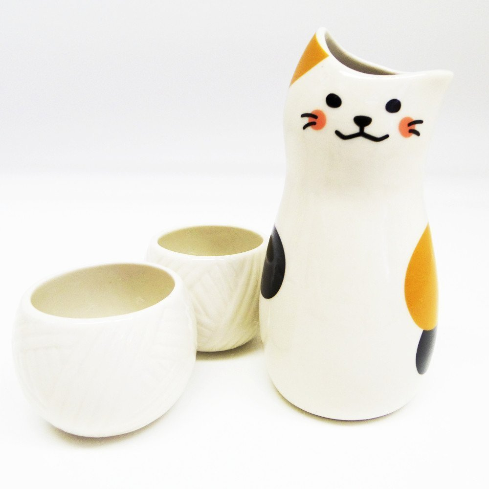 Sun Art Calico cat Sake Bottle and Sake Cups set SAN2524 from Japan CECOMINOD068364
