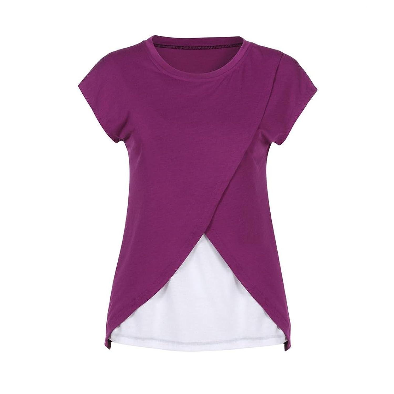 KaiCran Pregnant Maternity Clothes Women's Maternity Nursing Wrap Top Cap For Maternity T-Shirt