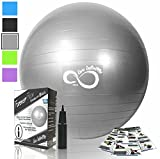Exercise Ball -Professional Grade Exercise Equipment Anti Burst Tested with Hand Pump- Supports 2200lbs- Includes Workout Guide Access- 55cm/65cm/75cm/85cm Balance Balls (Light Silver, 55 cm)